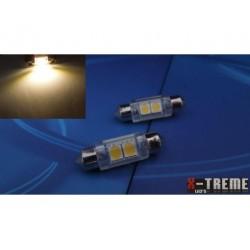 10x36 2 x SMD LED 5050 WARM WHITE żarówka rurkowa C5W XTREME TECHNOLOGY