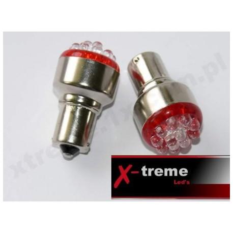 1156 Ba15s P21W 12 x LED czerwone 24Volt TIR