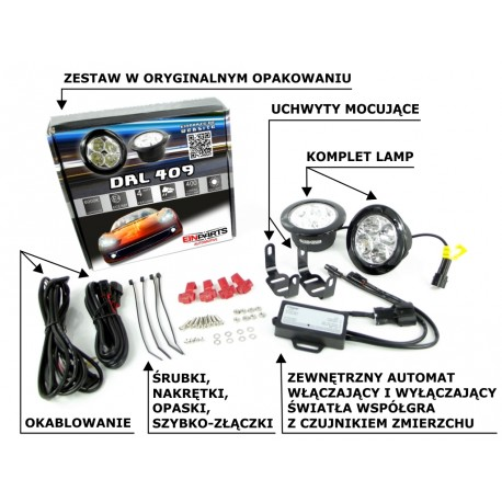 Światła do jazdy dziennej LED 409 EINPARTS  OKRĄGŁE 7-9cm RL00 4xHP