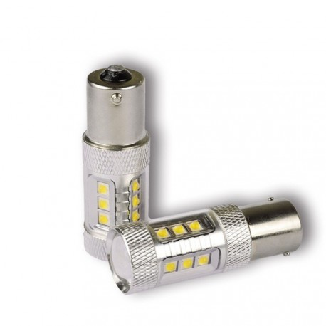 Żarówki P21W  jednowłóknowe Ba15s 1156 BIAŁA LED 16x CREE  MEGA POWER 80W LED